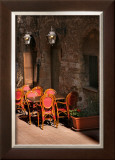 Ristorante with Red Chairs, San Gimignano Poster by Igor Maloratsky