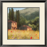 Villa and Cypress Print by Barbara Carter
