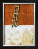 Echelle Sur Mur Rouge Poster by Joël Gangloff