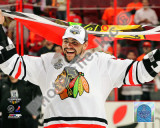 Dustin Byfuglien with Chicago Blackhawks Flag 2010 Stanley Cup Finals Photo