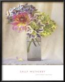 Dahlia with Hydrangeas II Print by Sally Wetherby