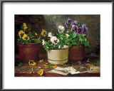 Pansies in Terra Cotta Art by Del Gish