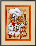 Will Work for Wine Posters by Jerianne Van Dijk