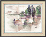 Sailboats Among Pine Trees Prints by Terry Madden