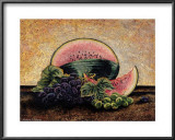Melon and Grapes Print by Richard Henson