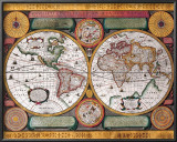 Antique Map, Terre Universelle, 1594 Posters by Petro Plancio