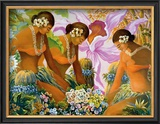 Hawaiian Hula Framed Giclee Print by Warren Rapozo