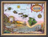 Map of Old Hawaii Framed Giclee Print by Steve Strickland