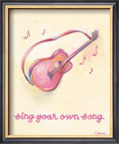 Little Pink Guitar Print by Catherine Richards