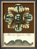 Aqua and Brown Rosette IV Prints