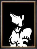 Japanese Kiri-e: Girl Who Indulges to Pensiveness Framed Giclee Print by Kyo Nakayama