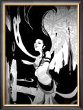 Japanese Kiri-e: Maiden Who Offers the Invocation of Rain Framed Giclee Print by Kyo Nakayama