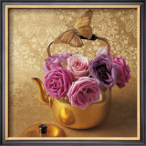 Roses, Teapot and Butterfly Art by Louis Gaillard