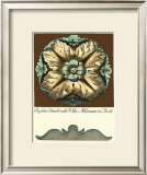 Aqua and Brown Rosette II Prints