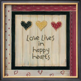 Love Lives in Happy Hearts Posters by Karen Tribett