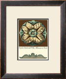 Aqua and Brown Rosette II Print