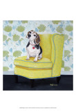 Beagle on Yellow Prints by Carol Dillon