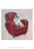Bulldog on Red Art by Carol Dillon