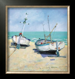 Two Moored Boats Posters by Jane Hewlett