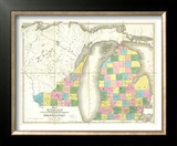 Map of Michigan and Part of Wisconsin Territory, c.1839 Framed Giclee Print by David H. Burr