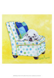 Bulldog on Polka Dots Posters by Carol Dillon
