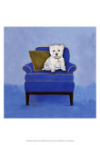 Westie on Blue Prints by Carol Dillon