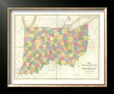 Map of Ohio and Indiana, c.1839 Framed Giclee Print by David H. Burr