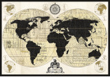Vintage World Map Art by Devon Ross