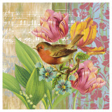Robin and Tulips Prints by Walter Robertson