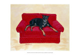 Dobie on Red Prints by Carol Dillon