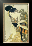 Woman Dressing Another's Hair Print by Utamaro Kitagawa