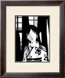 Japanese Kiri-e: Woman with Floral Kimono Framed Giclee Print by Kyo Nakayama