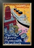 Transatlantique, French Line, Paris-Havre-New York Framed Giclee Print by Albert Sebille