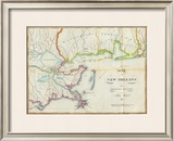 Map of New Orleans and Adjacent Country, c.1815 Framed Giclee Print by John Melish