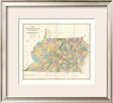 Map of Virginia, Maryland and Delaware, c.1839 Framed Giclee Print by David H. Burr
