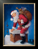 Santa in Chimney Print by Susan Comish