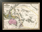 Map of Oceanica, c.1839 Framed Giclee Print by Samuel Augustus Mitchell