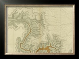 Grand Canyon: Geologic Map of the Southern Kaibab Plateau (Part I, North-West), c.1882 Framed Giclee Print by Clarence E. Dutton