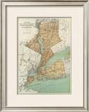 New York: Kings, Queens, Richmond, Rockland, Westchester, Putnam Counties, c.1895 Framed Giclee Print by Joseph Rudolf Bien