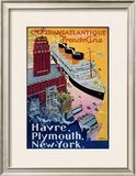 Transatlantique, French Line, Paris-Havre-New York Framed Giclee Print by Albert Sebille