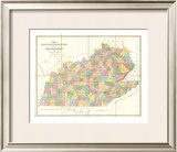 Map of Kentucky and Tennessee, c.1839 Framed Giclee Print by David H. Burr