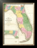 Map of Florida, c.1839 Framed Giclee Print by David H. Burr
