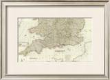 England and Wales (Southern section), c.1790 Framed Giclee Print by John Rocque