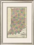 New Sectional and Township Map of Indiana, c.1876 Framed Giclee Print by A. T. Andreas