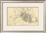 Civil War Map Illustrating the Siege of Atlanta, Georgia, c.1864 Framed Giclee Print by Orlando M. Poe