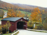 Covered Bridge in Autumn Landscape, Battenkill, Arlington Bridge, West Arlington, Vermont, USA Photographic Print by Scott T. Smith