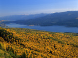 Autumn Larch Trees over Hungry Horse Reservoir, Swan Mts., Hungry Horse Montana, USA Photographic Print by Chuck Haney