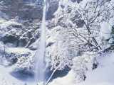 Multnomah Falls in Snow Covered Forest, Columbia Gorge National Scenics Area, Oregon, USA Photographic Print by Stuart Westmoreland