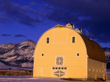 Last Light in Front of Painted Barn, Belgrade, Montana, USA Stampa fotografica di Chuck Haney