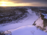 Last Light on Wintry Little Missouri River in Theodore Roosevelt National Park, North Dakota, USA Photographic Print by Chuck Haney
